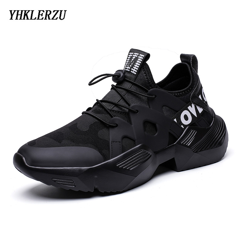 YHKLERZU 2019 Trendy Sneakers Men Lycra Upper Breathable Chunky Shoes Anti Slip Vulcanized Shoes Zapatillas Hombre Black White