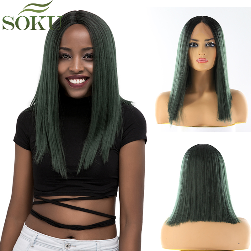 SOKU Wig Lace-Wigs Synthetic-Hair Green Yaki Middle-Part Black Straight Women for 150%Density