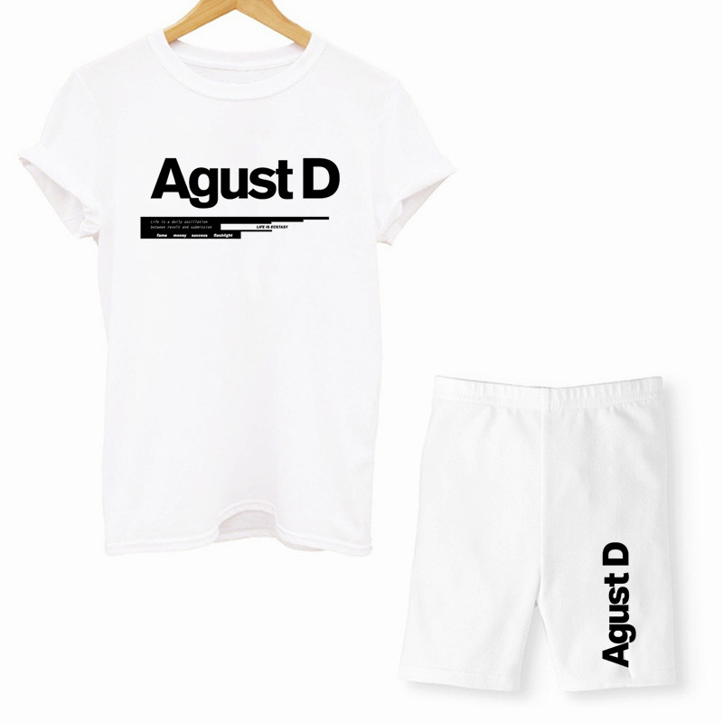 Женские туфли из двух частей комплект D-2 альбом Agust D, буквенный принт, футболки для девочек и шорты, комплект, Летние повседневные Джоггеры в ...