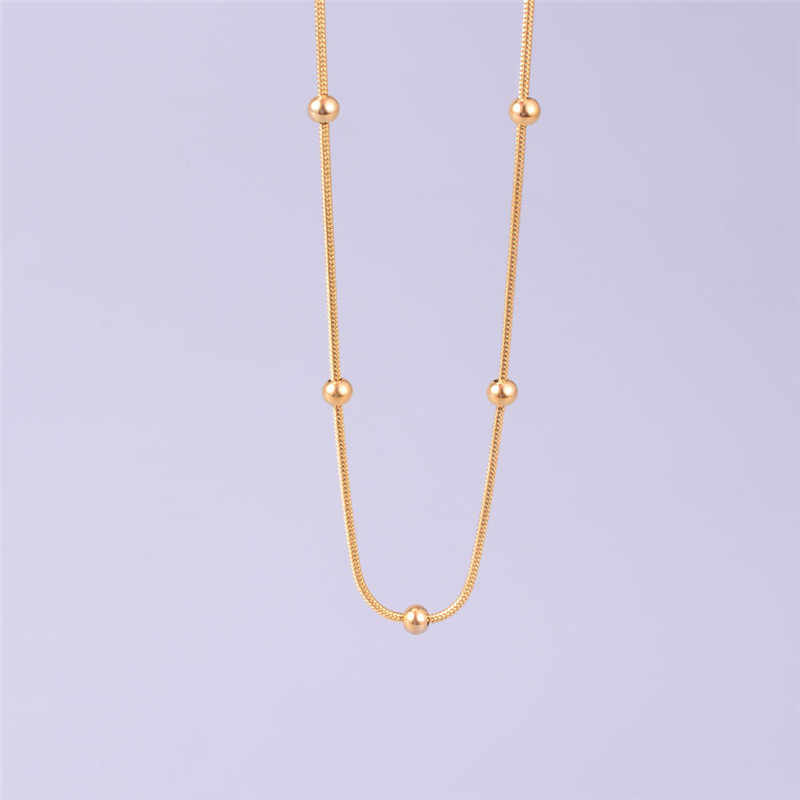 Gold Rose Gold Color Snake Chain Chokers For Women Stainless Steel 5mm Beads Charms Pendant Necklaces Drop Shipping No Fade