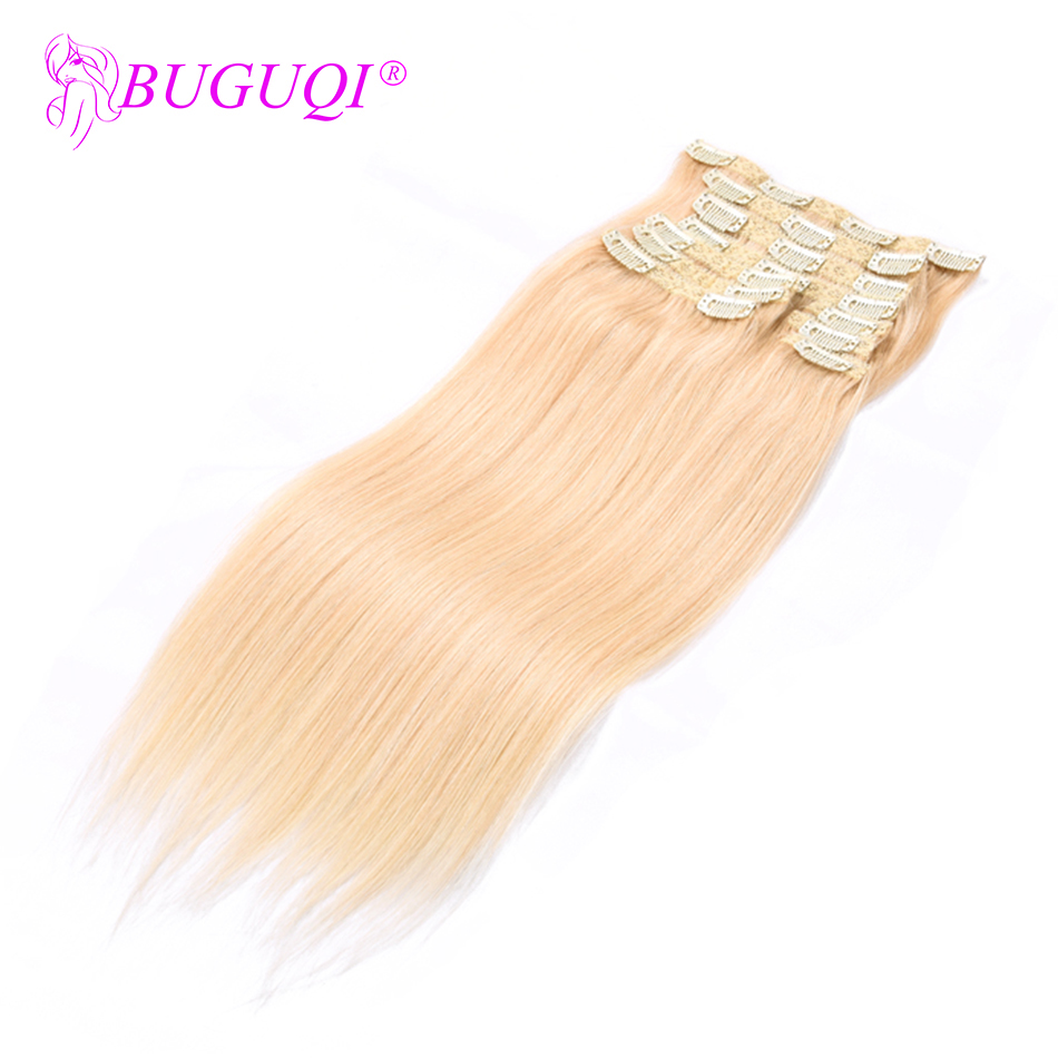BUGUQI Hair Clip In Human Hair Extensions Indian #613 Remy 16- 26 Inch 100g Machine Made Clip Human Hair Extensions