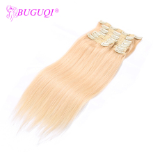 BUGUQI Hair Clip In Human Extensions Indian #613 Remy 16- 26 Inch 100g Machine Made