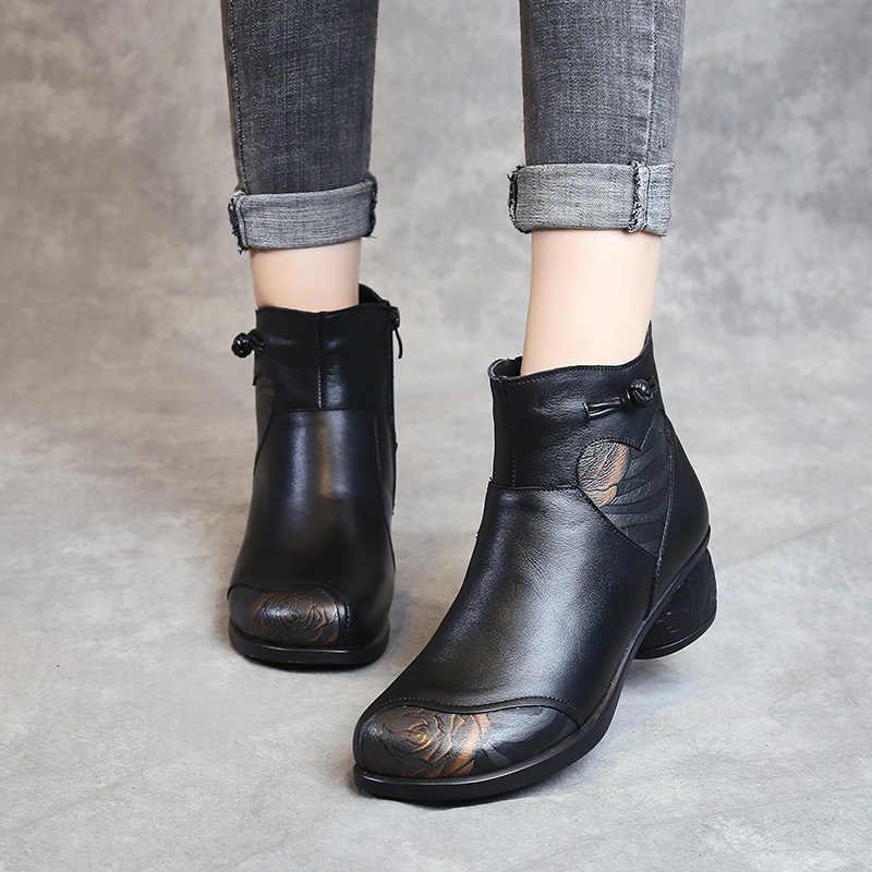 GKTINOO sonbahar kış kadın çizmeler hakiki deri kalın topuklu yarım çizmeler kadınlar için ayakkabı Retro sıcak fermuar kısa çizmeler