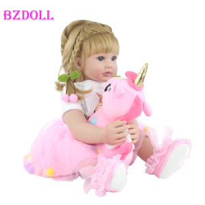 60cm Silicone Reborn Babies Doll Toys For Girl Pink Dress Blonde Princess Toddler Bebe Dress Up Doll Kid Birthday Gift For Child(China)