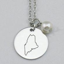 Maine Colar, Colar Estado, Estado de Maine Colar, Colar Estado Em Casa, Atacado, Encantos Gravadas, Mulheres jóias, 22mm,5 Pçs/lote