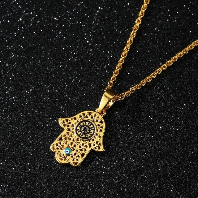 Arabe soja Luna Hamsa main pendentif collier femmes hommes amulette en alliage de Zinc couleur or main de Fatima tour de cou bijoux islamiques