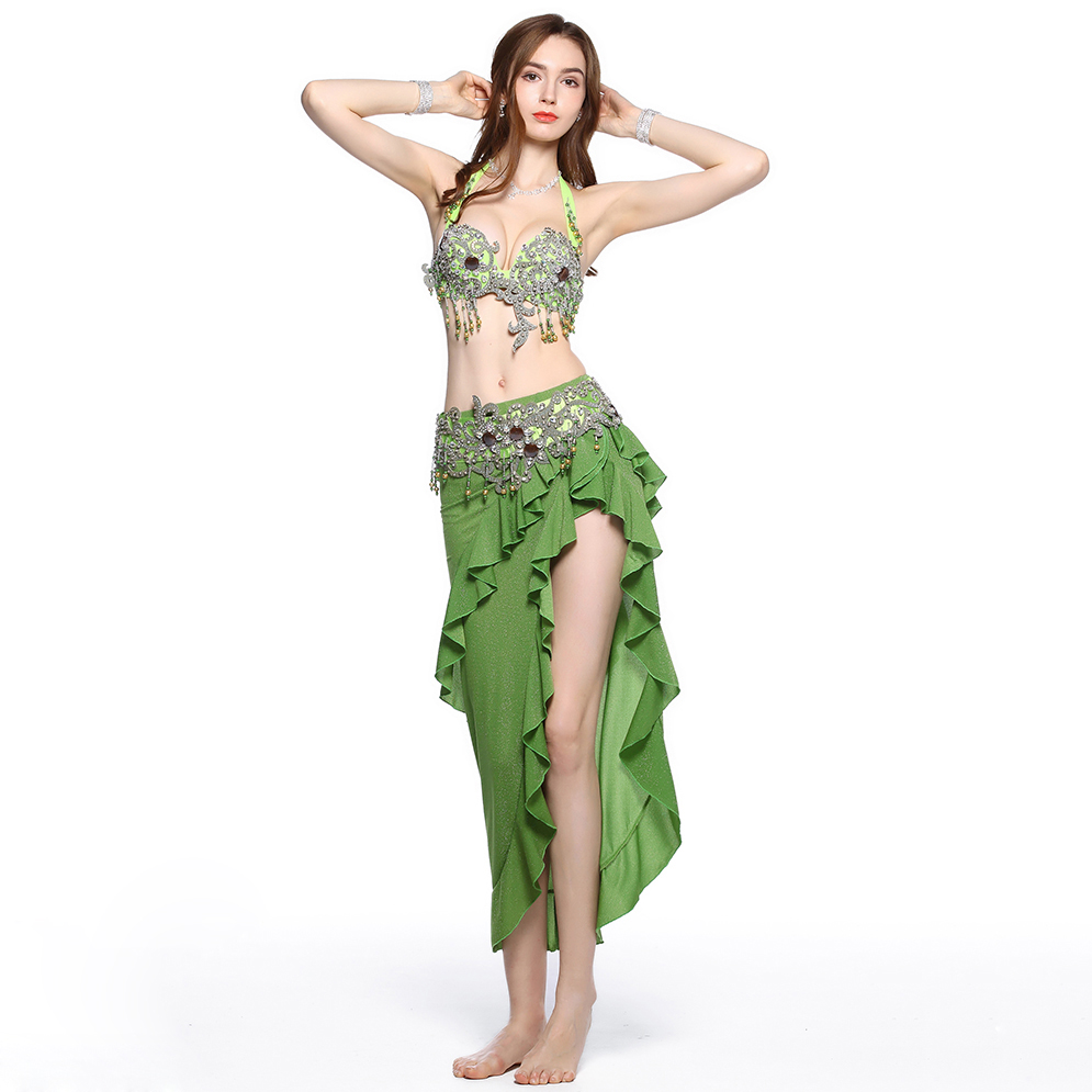 2019 Women Dance Clothes C/D Cup Bra Egyptian Belly Dance Costume Set 2 Pieces Bra Belt Green Rhinestone Outfit
