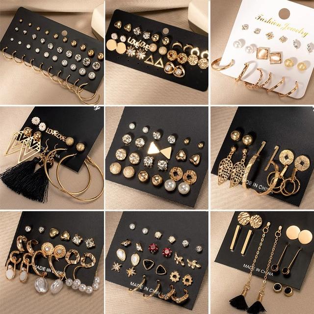 Brincos femininos conjunto retro coreano geométrico brincos para mulheres coreano ouro pequeno metal pérola brinco 2021 tendência jóias 3