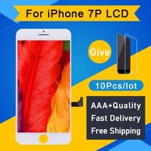 Pantalla LCD de calidad AAA para iPhone 7 Plus, montaje de digitalizador táctil 3D, blanco y negro, 10 Uds.