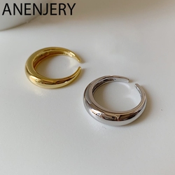 ANENJERY Newest Smooth Geometric Cambered Ring For Men Women Gold Silver Color Open Finger Rings Party S-R705