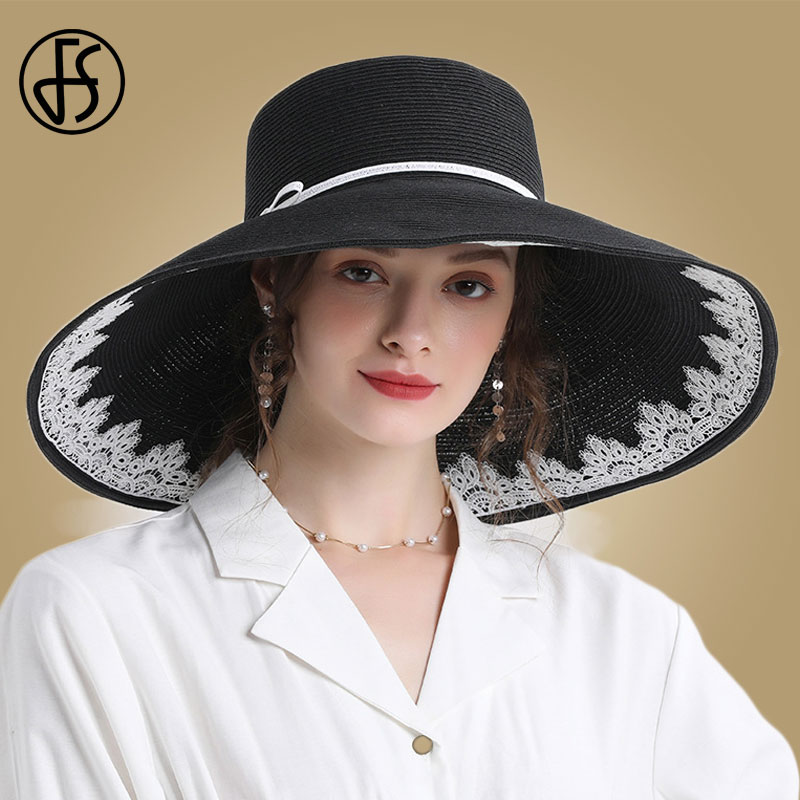 FS  Black Pink Sun Beach Hats Women Large Big Wide Brim Summer Straw Hats White Panama Sun Caps Foldable Chapeu Feminino