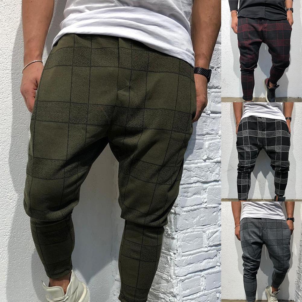 Men Plaid Low Crotch Harem Pants Trousers Loose Fit Hiphop Street Wear