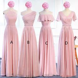 Бледно-розовый шифон Длинные свадебные платья со шнуровкой 2019 богемное платье подружки невесты длина до пола Свадебные платья для гостей