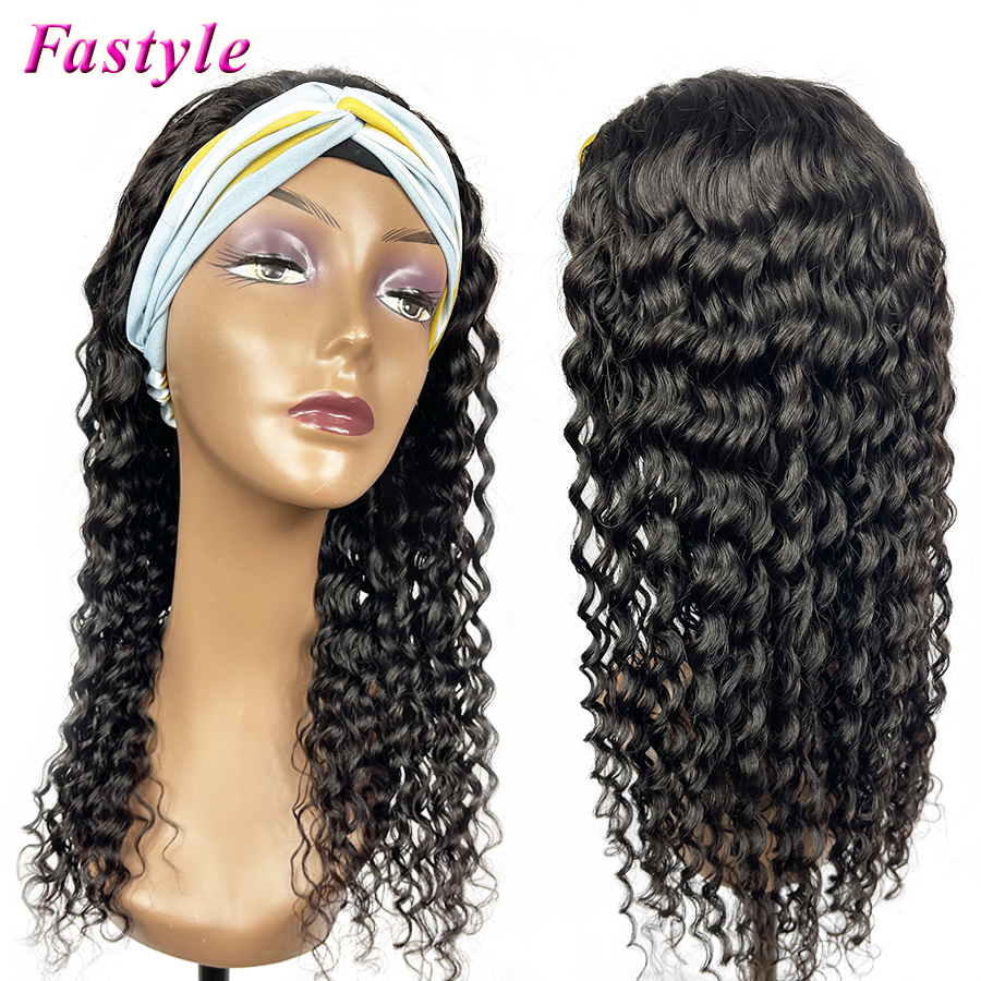Wig Hair-Extension Bangs Curly-Wave Made-Headband Wavy Human Women Black Full-Machine