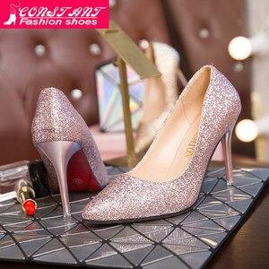 Women pumps fashion high heels wedding Bling women heels Glitter woman pumps Woman Shoes pink gold silver stiletto(China)