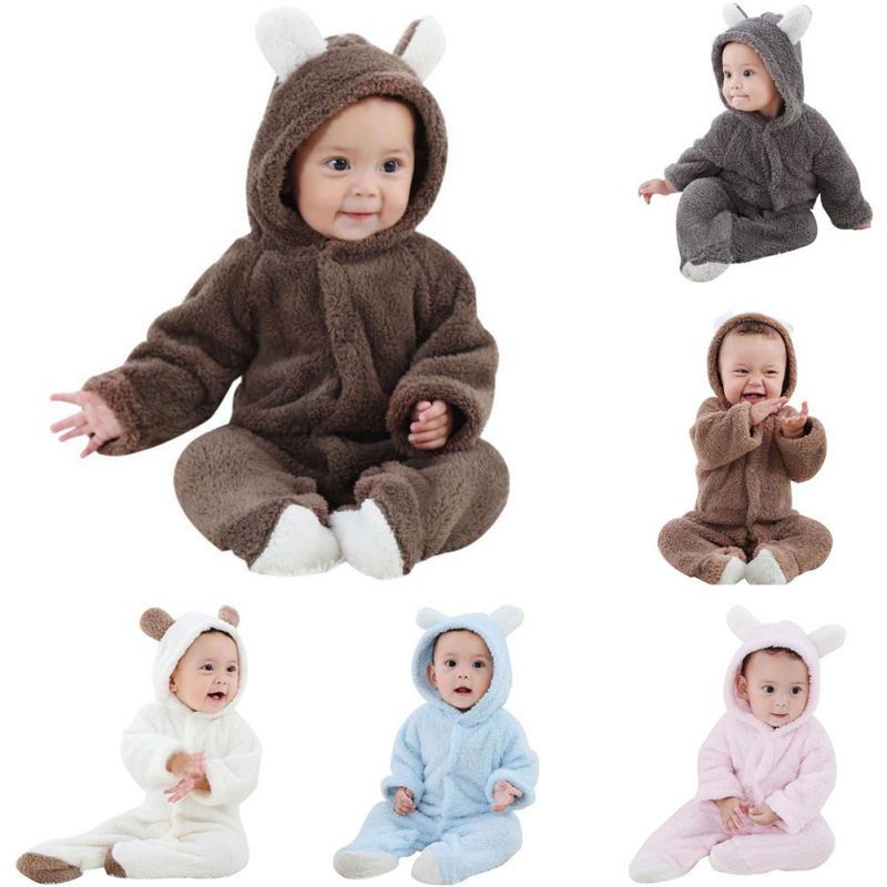 BOBORA Cotton Fur Baby Rompers Newborn Toddler Soft Warm Cartoon Jumpsuit Cute Infant Newborn Winter Warm Clothing 0-18M