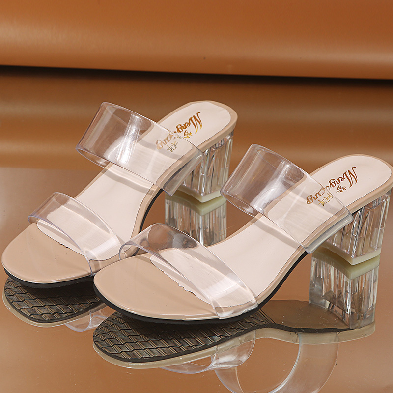 2020 Clear Heels Slippers Women Sandals Summer Shoes Woman Transparent Shoes High Heels Wedding Jelly Sandals Sandalias Mujer