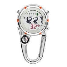 Cyfrowy karabinek Sport Hook zegar szpital prezent elektroniczny Luminous wielofunkcyjny FOB pielęgniarka zegarek zegarek sportowy do użytku na zewnątrz tanie tanio Stop ROUND ALARM STOP WACT CANLEDAR Stacjonarne Szkło Unisex Kieszonkowy zegarki kieszonkowe CH-F-018 3 9cm Nowy bez tagów