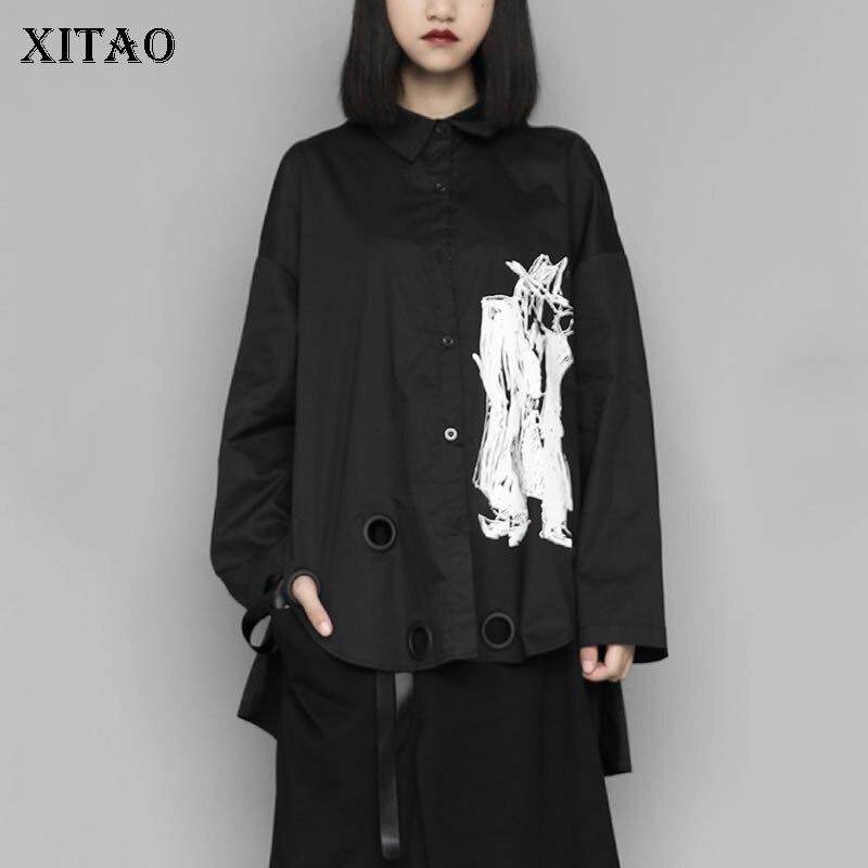 XITAO Harajuku Minority Women Blouses Personality Irregular Women Tops Long Sleeve Trend Dark Style Shirt Streetwear ZLL4328