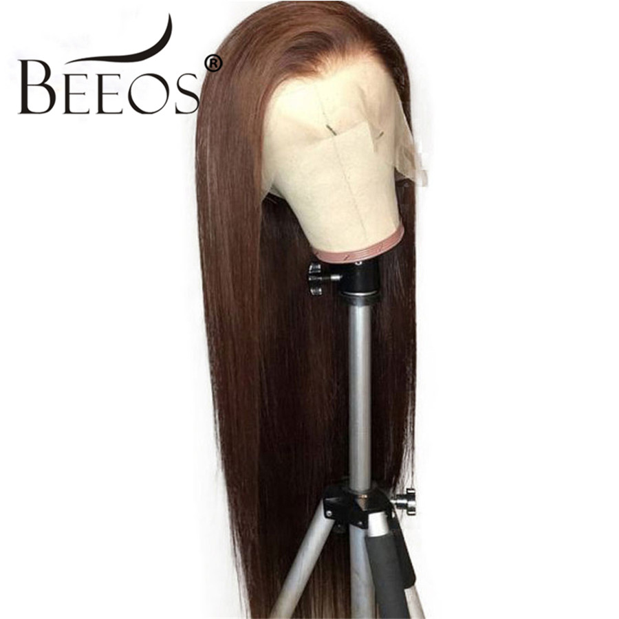 Beeos 13*6 Deep Part Lace Front Wig Straight Brown Color Hair Pre Plucked Bleached Knots Lace Wigs Brazilian Remy Hair