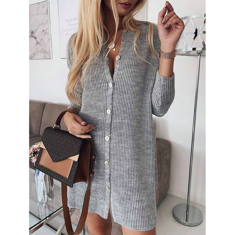 Women Casual Solid O-Neck Cardigan Sweaters Spring Autumn Slim Knitted Warm  Long Feminino Coat