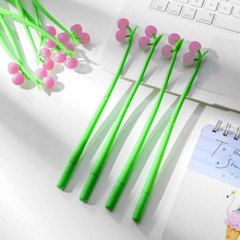 Novel kawaii discoloration Cherry black 0.5 gel pen Creative Student writing blue neutral pen Office School Supplies child gift цена