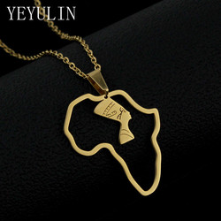 1pcs Vintage Africa map Egyptian Pharaoh Pendant Necklace Stainless Steel Jamaica Map Necklace For Unisex Jewelry Gifts