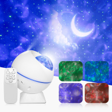 LED Night Light Star Galaxy Projector Moon Cloud Night Lamp Ocean Wave With Music Mood Remote Control For Christmas Gift Car