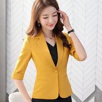 IZICFLY New career yellow jacket For Ladies Slim Half Coat Business Women korean white blazer Office Work Wear uniform plus size