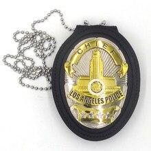 Insignias de Los Ángeles de Los Estados Unidos para Halloween, insignia de cobre, LAPD, Jefe, camisa, solapa, broche insignia con cadena de soporte