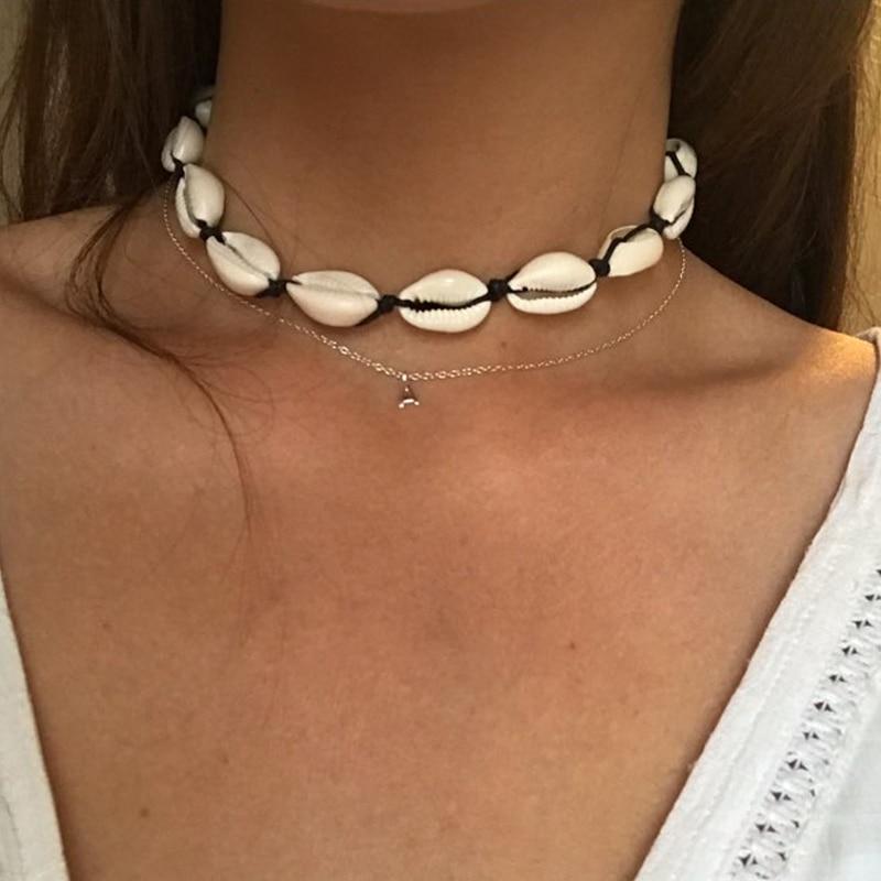 Женское ожерелье с подвеской в виде раковины, ожерелье-чокер с подвеской из ракушек в богемном стиле, Пляжное ожерелье в стиле бохо, лето
