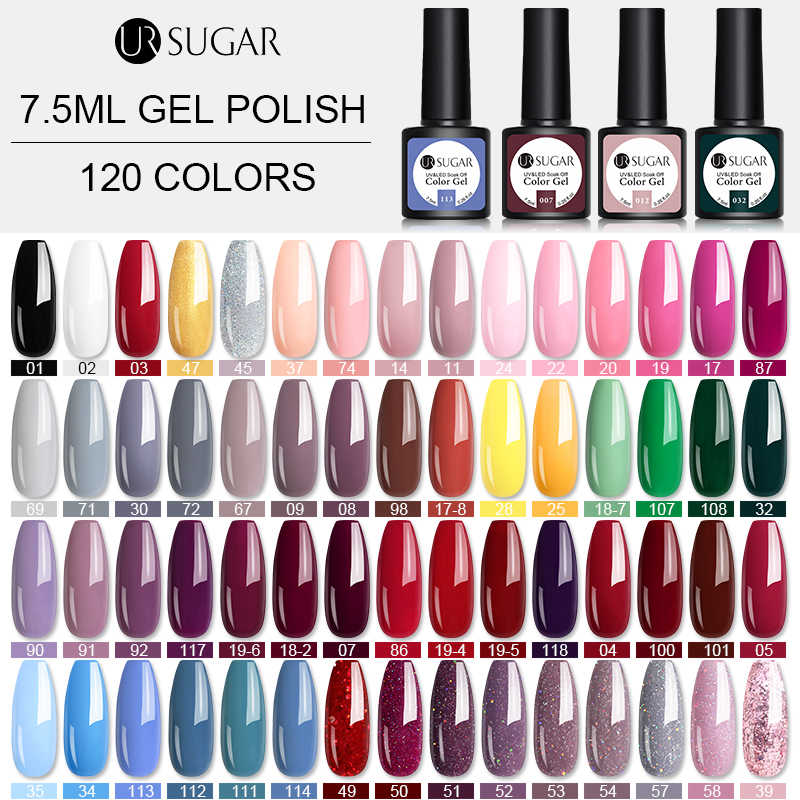 UR Gula 7.5 Ml Gel Cat Kuku Merah Muda Ungu Warna Seri UV LED Nail Varnish Semi Permanant Gel 60 Warna rendam Off Uv Gel Polandia