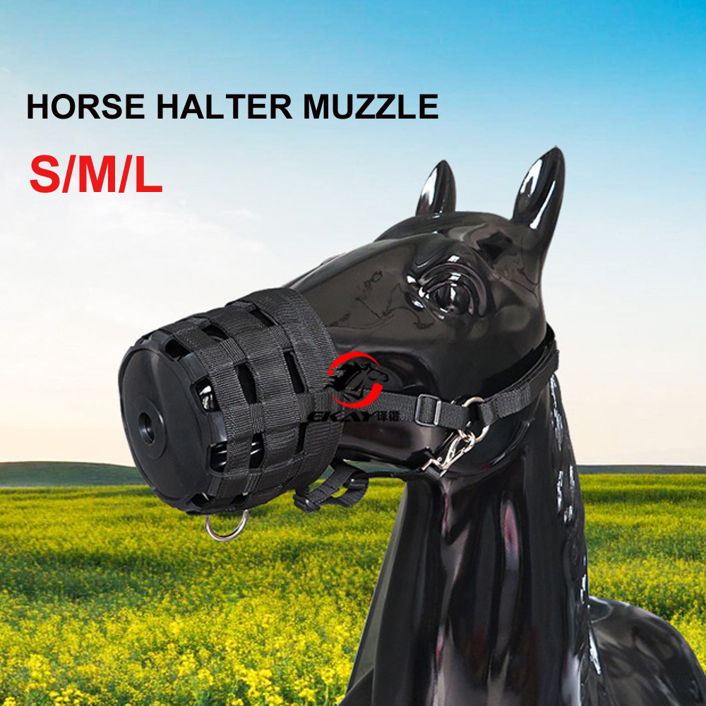Horse Halter Muzzle Easy Breathe Horse Mouth Cover Pony Nylon Grazing Muzzle With Halter Under Chin Head Collar Adjustable
