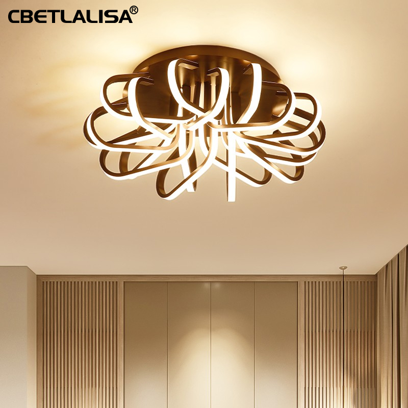 New led Chandelier for living room bedroom, coffee color ceiling chandelier fast shipping, 3 year warranty, elegant lighting