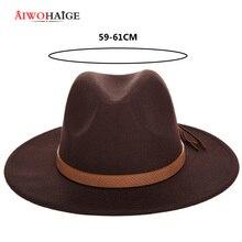 Новая модная однотонная мужская Шляпа Fedora на осень и зиму, шерстяная кожаная Мужская винтажная Классическая Шапка Sombrero
