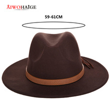 New Fashion Men's Fedora Hat Wool Leather Male Vintage Classical Sombrero Hairy