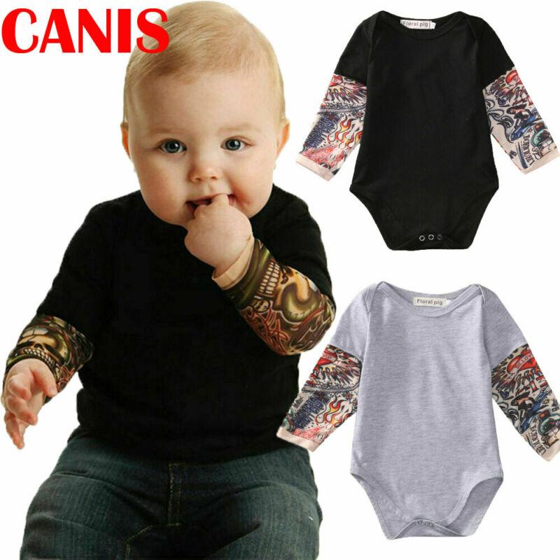 3-24M Infant Baby Boy Kids Tattoo Splice Long Sleeve Romper Tops Jumpsuit Blouse