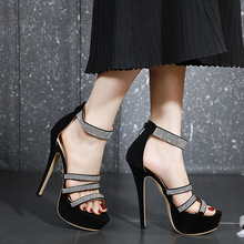 Купить с кэшбэком Sandals Shoes Woman Thin Heels Platform shoes rhinestone Sandals Wedding Shoes Steel Tube Dancing Shoes Open Toe pumps LJA927