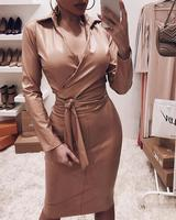 Women PU Leather Dress Plunge Bowknot Detail Long Sleeve Bodycon Dress With Sashes Autumn Winter Slim Fit Black Dresses Vestidos
