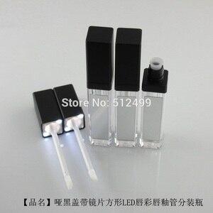 Image 2 - 10/30/50pcs 7.5ml Empty Makeup DIY Lip gloss bottle Black/silver Square Lip Gloss Tube with LED Light mirror Labial glair bottle