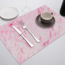 Fuwatacchi Marble Pink Placemat Sea Wave Decor Dinner Table Mat Tableware Cup Pads Drink Coasters for Party Kitchen Accessories fashion waterproof oil heat resistant marble stripe placemat rectangle table mat drink coaster tableware kitchen accessories