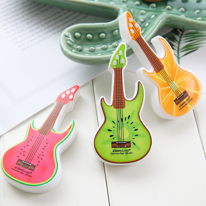 24pc/lot  Cartoon Guitar Correction Tape /6m/ Cute Correction Tape / Students Creative Stationery/office Supplies/children Gift