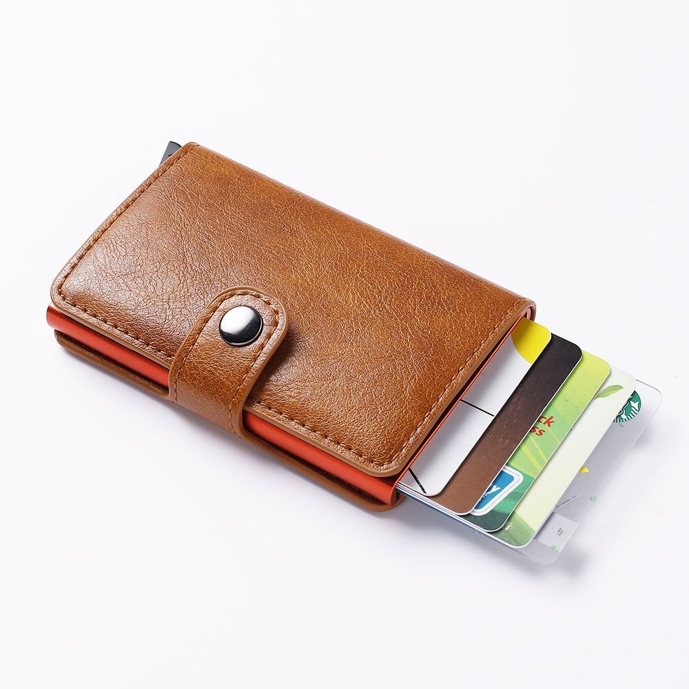 Fashion Credit ID Card Holder Colorful Box RFID Men Wallet Aluminum Purse Women Anti Theft Card Holder PU Leather Metal Wallets