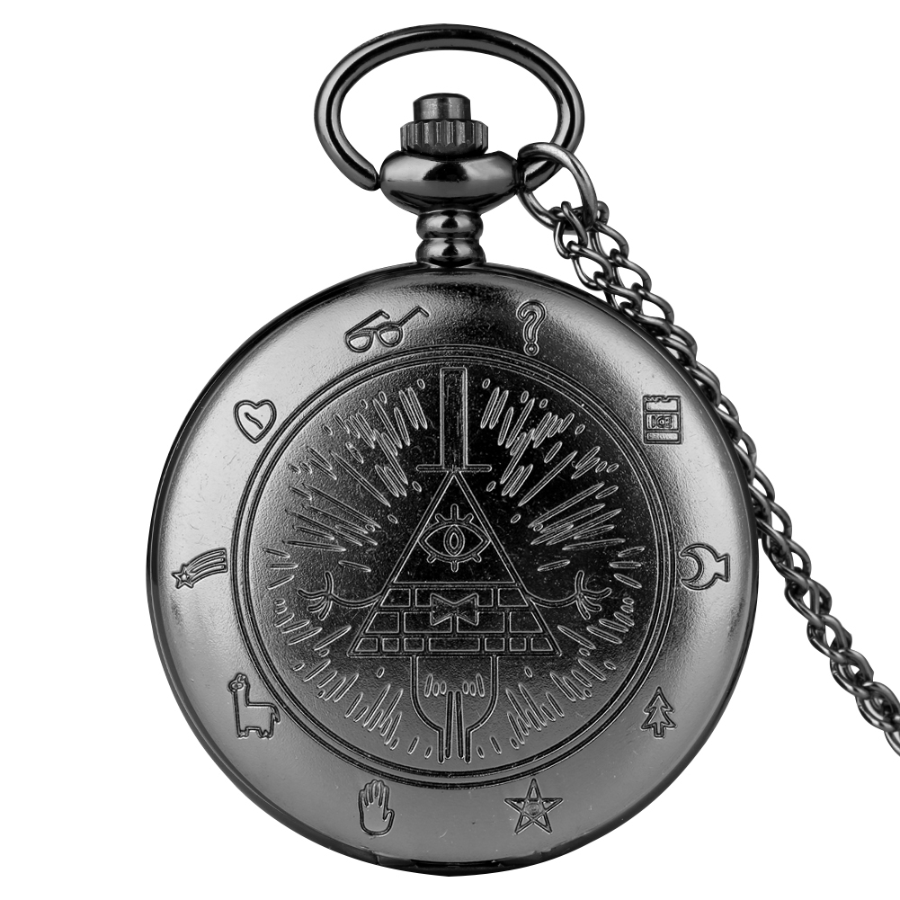 Antique Big Quartz Pocket Watch Unisex Weird Town Triangle One-eyed Demon Pendant Watches Necklace Chain Steampunk Clock Gifts