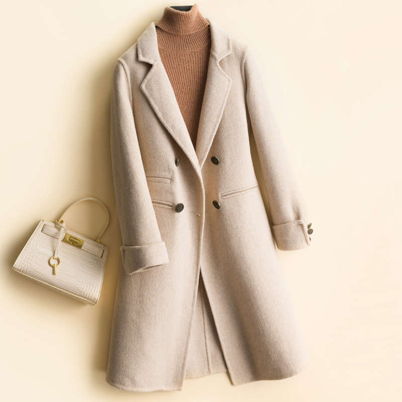 Automne nouveau pardessus femme hiver Double face cachemire manteau haute qualité Long manteau en laine femmes Slim Outwear mode laine veste