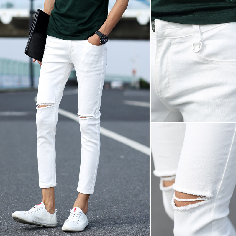 Spring And Autumn Knee With Holes Skinny Jeans Men Scraping Rotten Capri Pants Trend Slim Fit 9 Points Pencil Pants