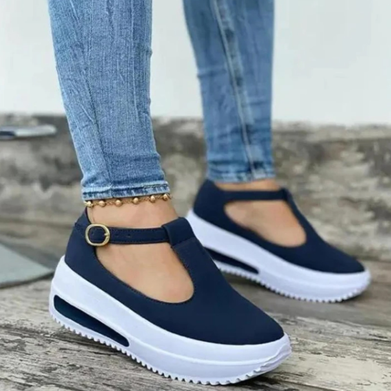 Women Shoes Summer Pumps Chunky Mid Heels Plus Size Breathable Mesh Sneaker Wedges Shoes Female Mujer Sapato Feminino