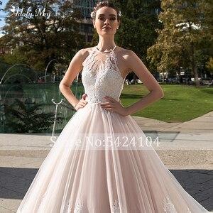 Image 5 - Adoly Mey Romantic Halter Neck Backless line suknia ślubna 2020 luksusowe zroszony Sashes aplikacje sąd pociąg suknia ślubna w stylu vintage