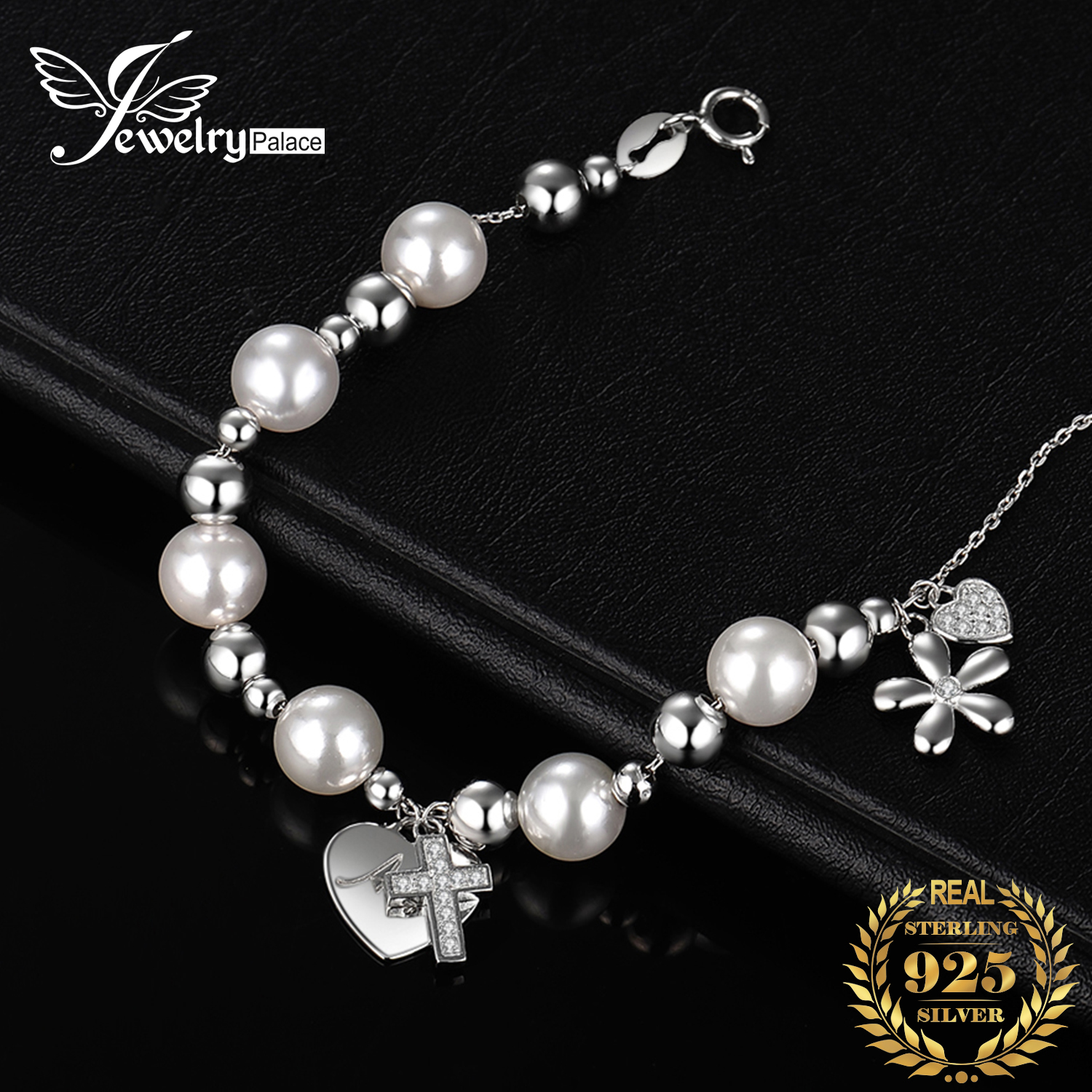 JewelryPalace 7mm Simulated Shell Pearl Angel Flower Cross Bangle Bracelet 925 Sterling Silver For Baby