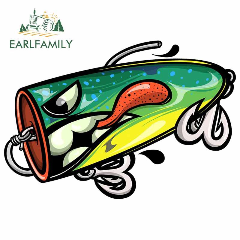 EARLFAMILY 13cm for Fishing Lure Car Stickers Vinyl Waterproof Decal Laptop Trunk Car Warp Custom Printing Window Decal